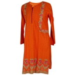 Orange Women's Long Blouse Kurti with Full Body Green and Pink Floral Embroidery Size L