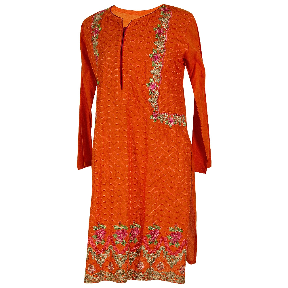 da3692ddde2 Orange Women's Long Blouse Kurti with Full Body Green and Pink Floral  Embroidery Size L