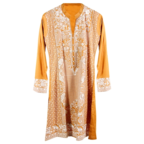 Mustard Yellow Women's Long Blouse Kurti Top with White Full Body Embroidery Size S