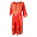 Red Women's Blouse Indian Kurti Tunic Top