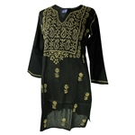 Black Women's Indian Kurti Tunic Top in Tan Hand