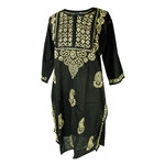 Black Women's Long Indian Kurti Tunic Top
