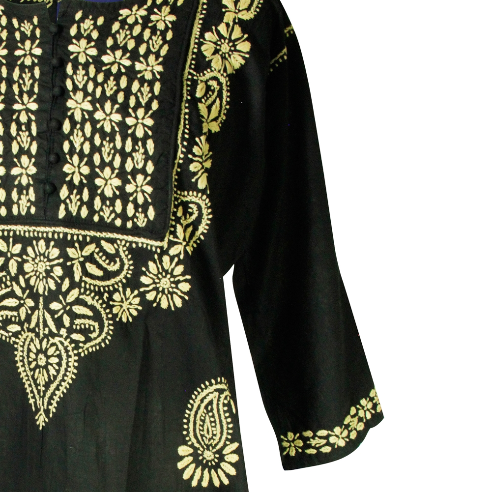 3c548983c27 Black Women's Long Indian Kurti Tunic Top with Tan Flower Hand Embroidery  ...
