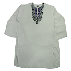 White Women's Kurti with Black and Purple Beach Top