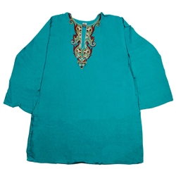 Teal Women's Kurti with Embroidery Beach Top