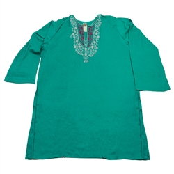 Green Women's Kurti with Embroidery Beach Top