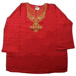 Red Kurti with Gold Embroidery Beach Top