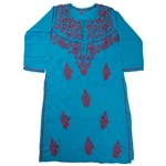 Teal Women's Kurti with Red Embroidery Beach Top