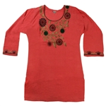 Orange Women's Kurti With Embroidery Beach Top