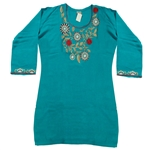 Teal Kurti for Women with Flower Embroidery Beach Top