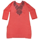Orange Women's Kurti with Diamond Embroidery Beach Top