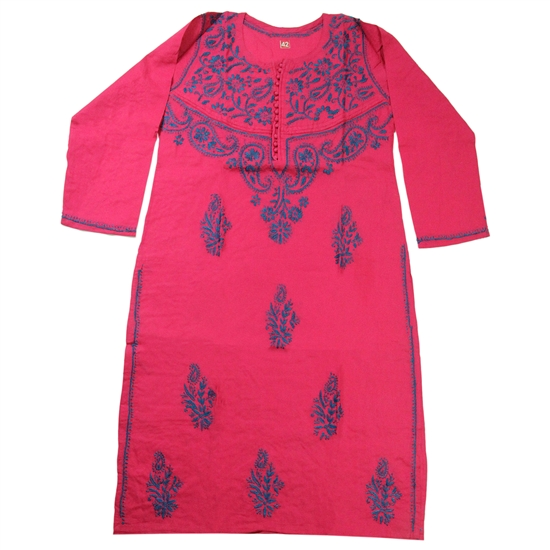 Red Women's Kurti with Blue Embroidery Beach Top