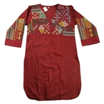 Burgundy Pakistani Kurta with Embroidery Beach Top