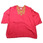 Orange Kurti Beach Top with Green Embroidery