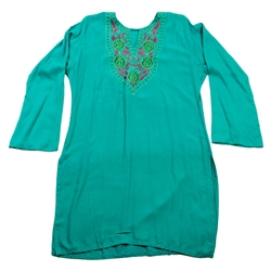Teal Kurti with Purple and Green Embroidery