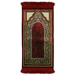 Red Jacquard Archway Kids Prayer Rug Mat for Children Sajada Junior